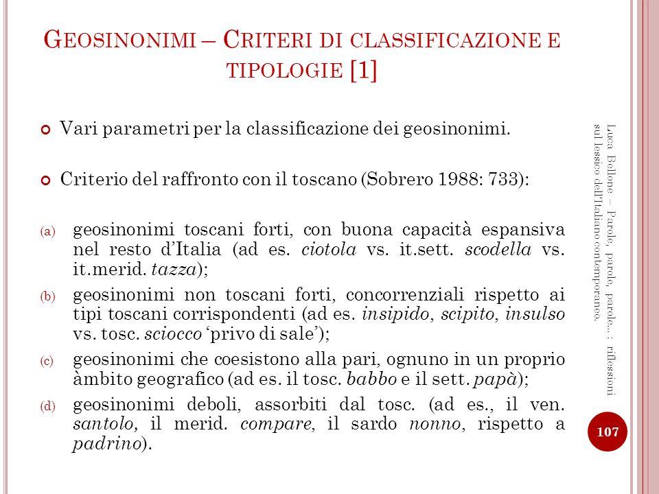 Geosinonimi – Criteri di classificazione e tipologie [1]